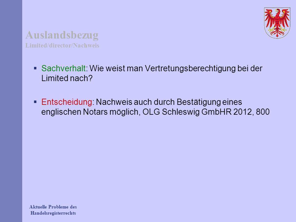 Auslandsbezug Limited/director/Nachweis