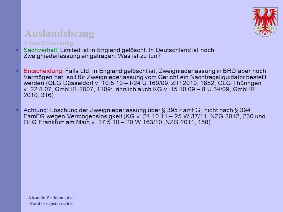 Auslandsbezug Limited/Löschung