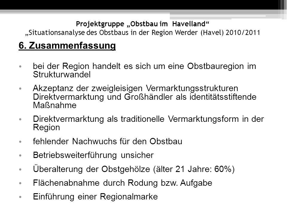 """Projektgruppe """"Obstbau im Havelland """"Situationsanalyse des Obstbaus in der Region Werder (Havel) 2010/2011"""