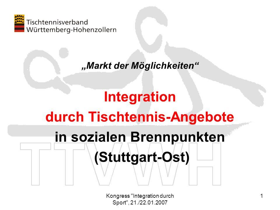 durch Tischtennis-Angebote in sozialen Brennpunkten (Stuttgart-Ost)