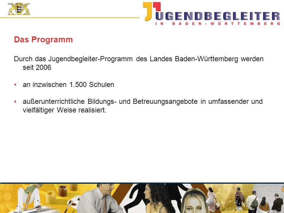 Das Programm Durch das Jugendbegleiter-Programm des Landes Baden-Württemberg werden seit 2006. an inzwischen 1.500 Schulen.