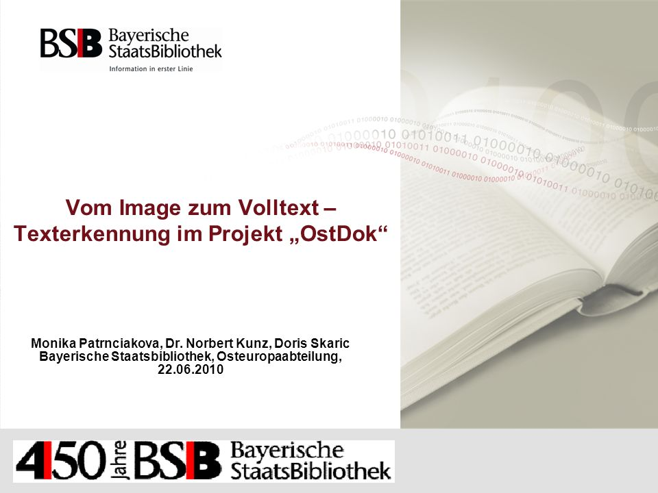 """Vom Image zum Volltext – Texterkennung im Projekt """"OstDok"""
