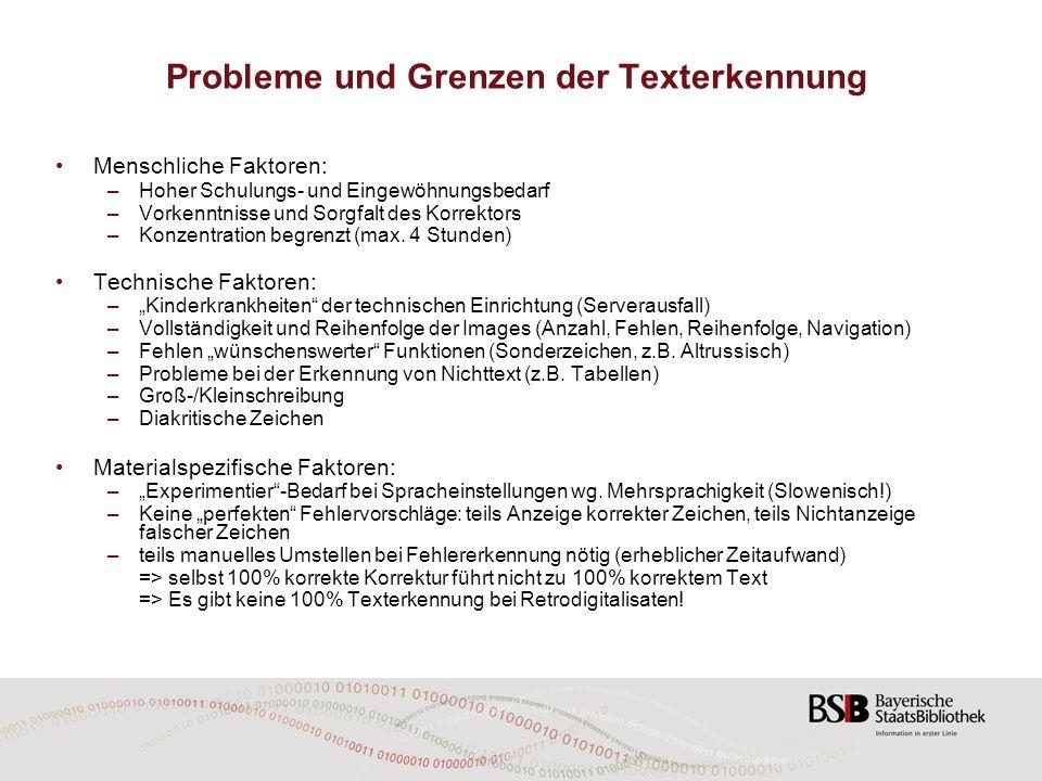 Probleme und Grenzen der Texterkennung