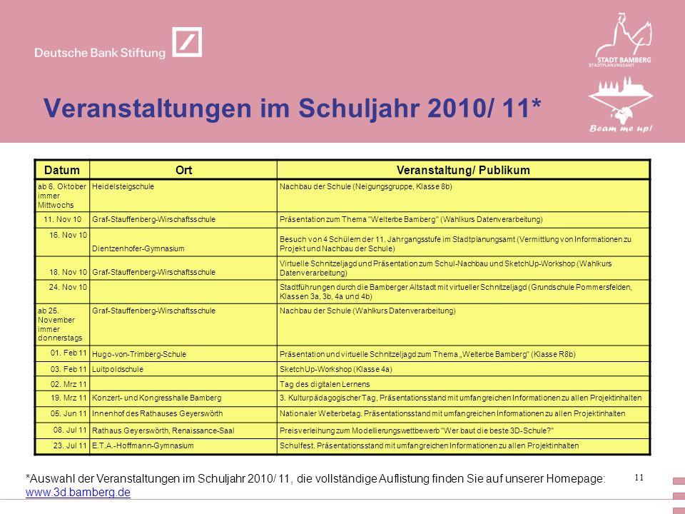 Veranstaltungen im Schuljahr 2010/ 11*