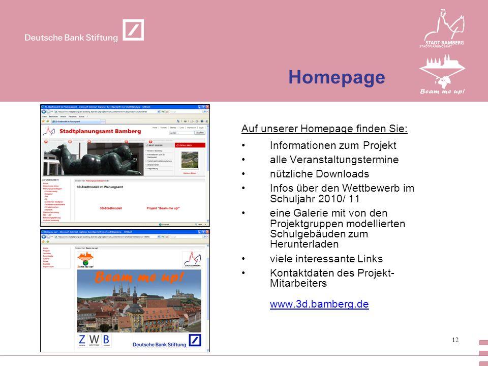 Homepage Auf unserer Homepage finden Sie: Informationen zum Projekt
