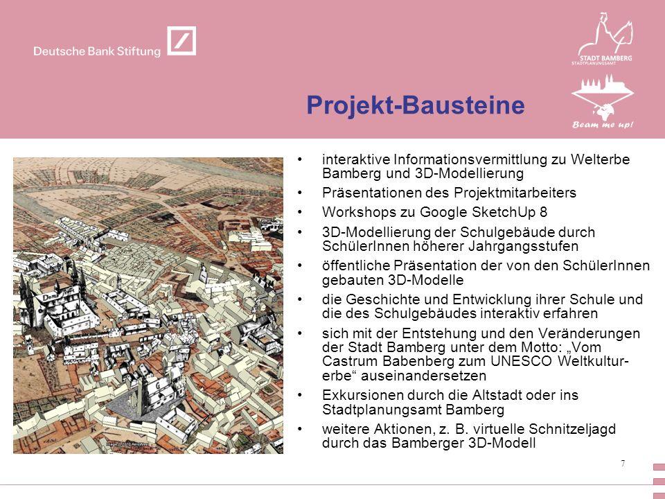 Projekt-Bausteine interaktive Informationsvermittlung zu Welterbe Bamberg und 3D-Modellierung. Präsentationen des Projektmitarbeiters.