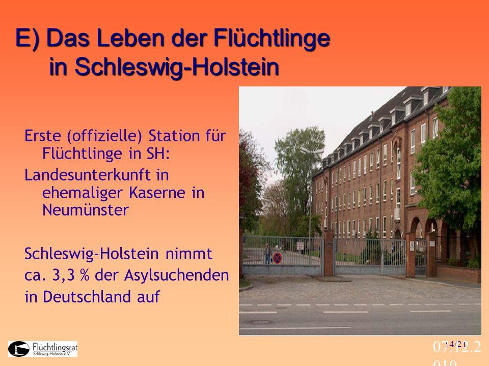 E) Das Leben der Flüchtlinge in Schleswig-Holstein
