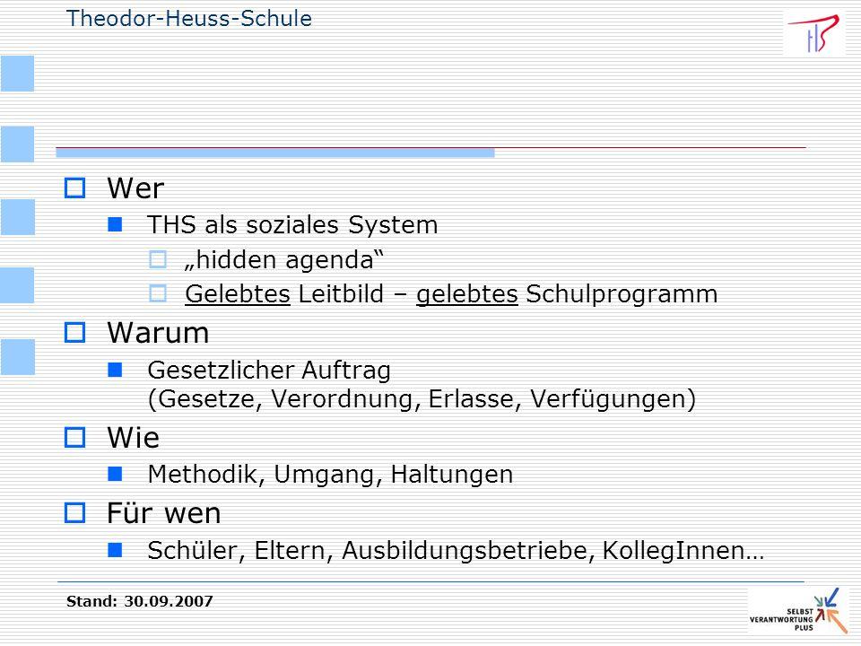 """Wer Warum Wie Für wen THS als soziales System """"hidden agenda"""