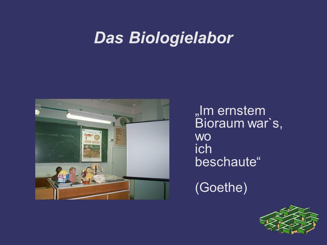 """Das Biologielabor """"Im ernstem Bioraum war`s, wo ich beschaute"""