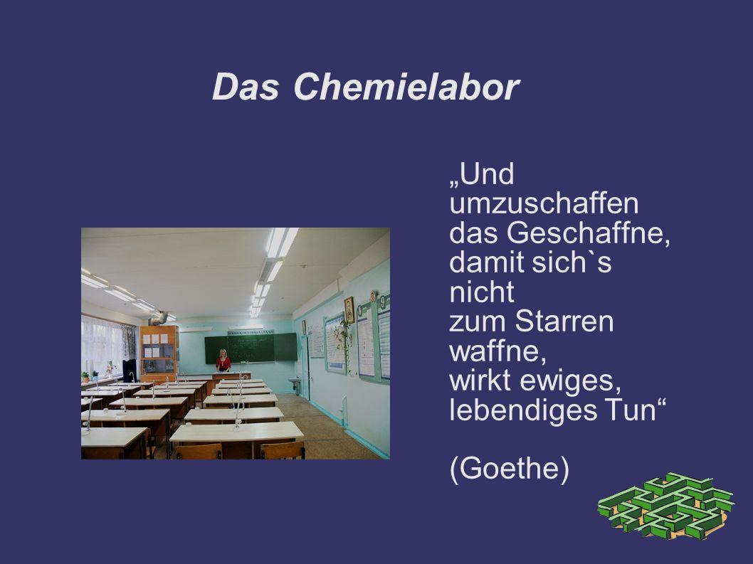 """Das Chemielabor """"Und umzuschaffen das Geschaffne, damit sich`s nicht"""
