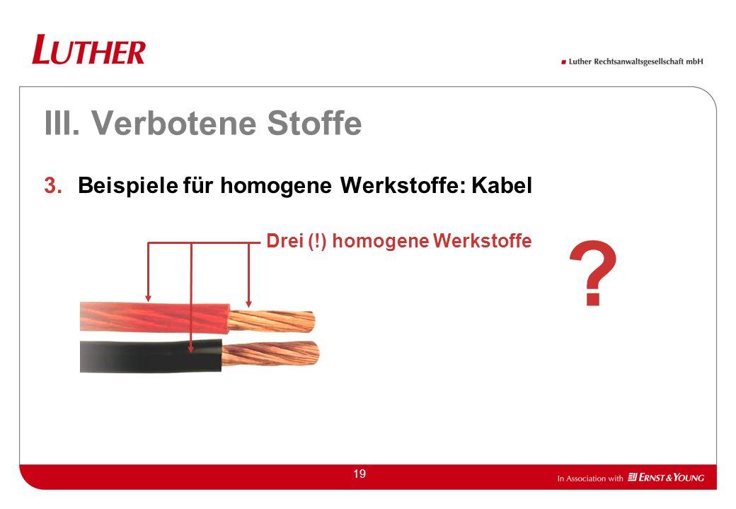 III. Verbotene Stoffe Beispiele für homogene Werkstoffe: Kabel
