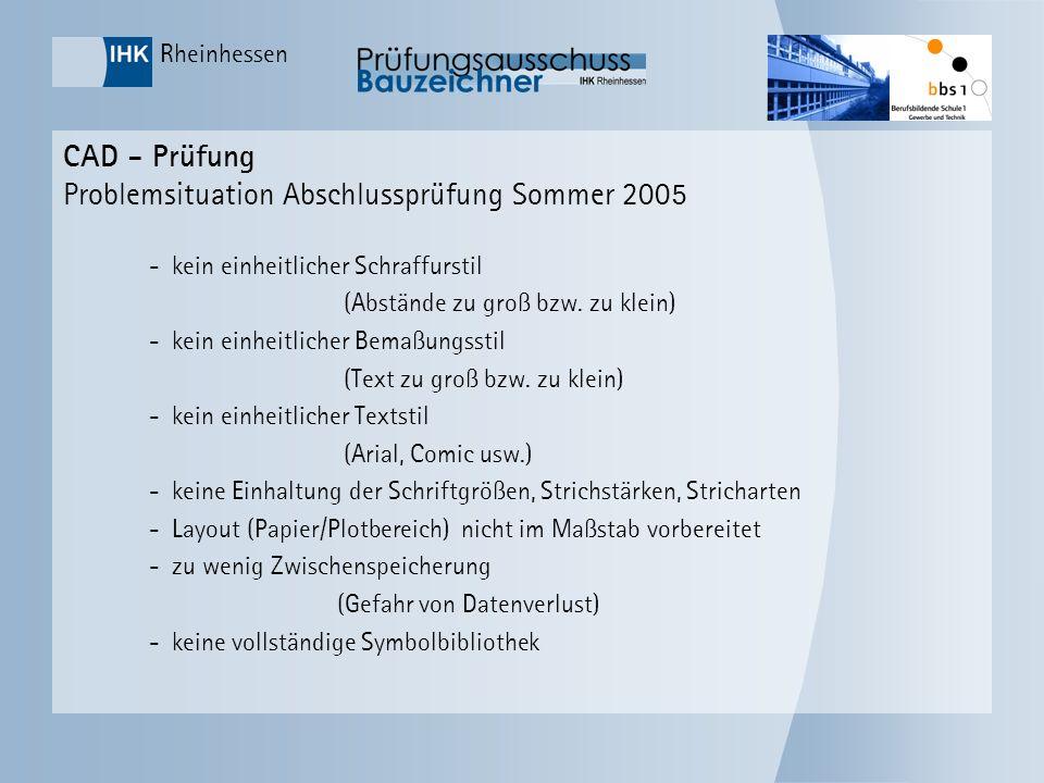 CAD - Prüfung Problemsituation Abschlussprüfung Sommer 2005