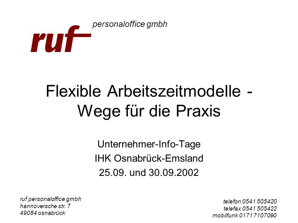 Flexible Arbeitszeitmodelle - Wege für die Praxis