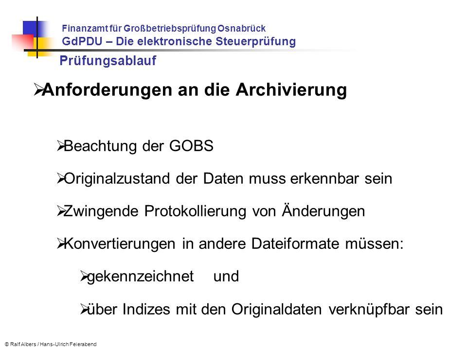Anforderungen an die Archivierung