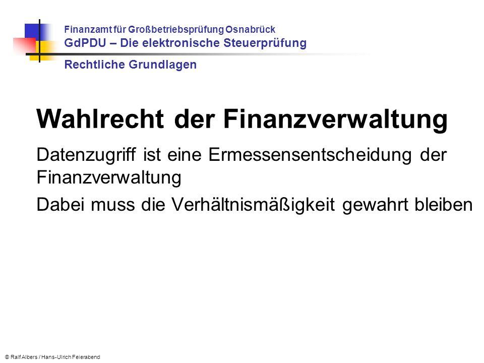 Wahlrecht der Finanzverwaltung
