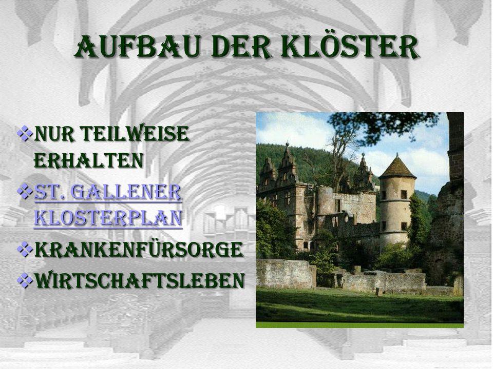 Aufbau der Klöster Nur teilweise erhalten St. Gallener Klosterplan