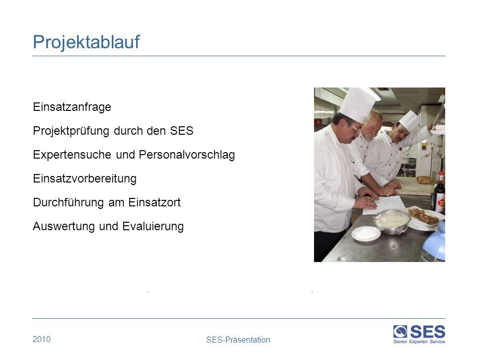 Projektablauf Einsatzanfrage Projektprüfung durch den SES