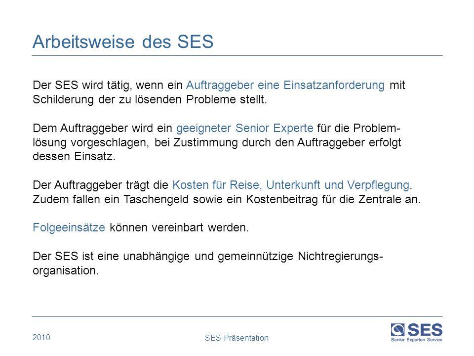 Arbeitsweise des SES Der SES wird tätig, wenn ein Auftraggeber eine Einsatzanforderung mit. Schilderung der zu lösenden Probleme stellt.