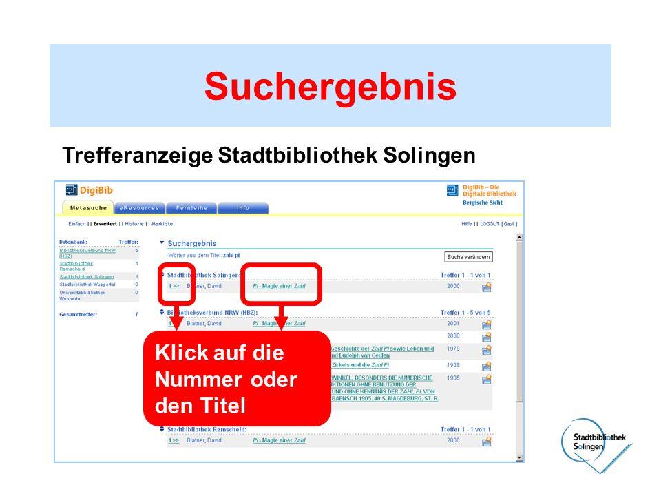 Suchergebnis Trefferanzeige Stadtbibliothek Solingen