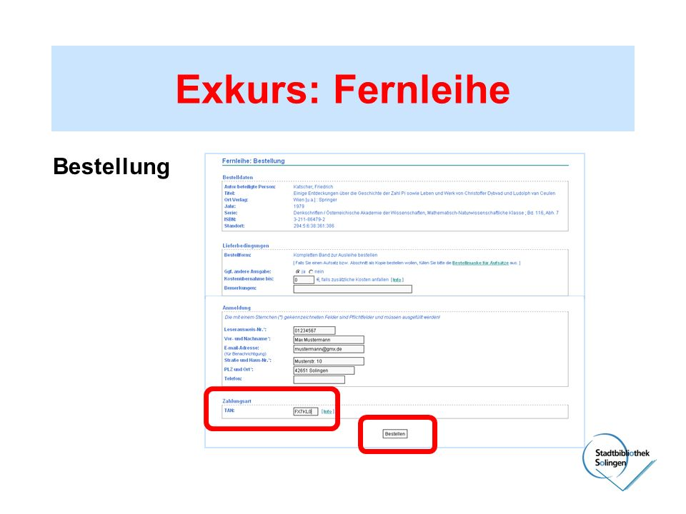 Exkurs: Fernleihe Bestellung
