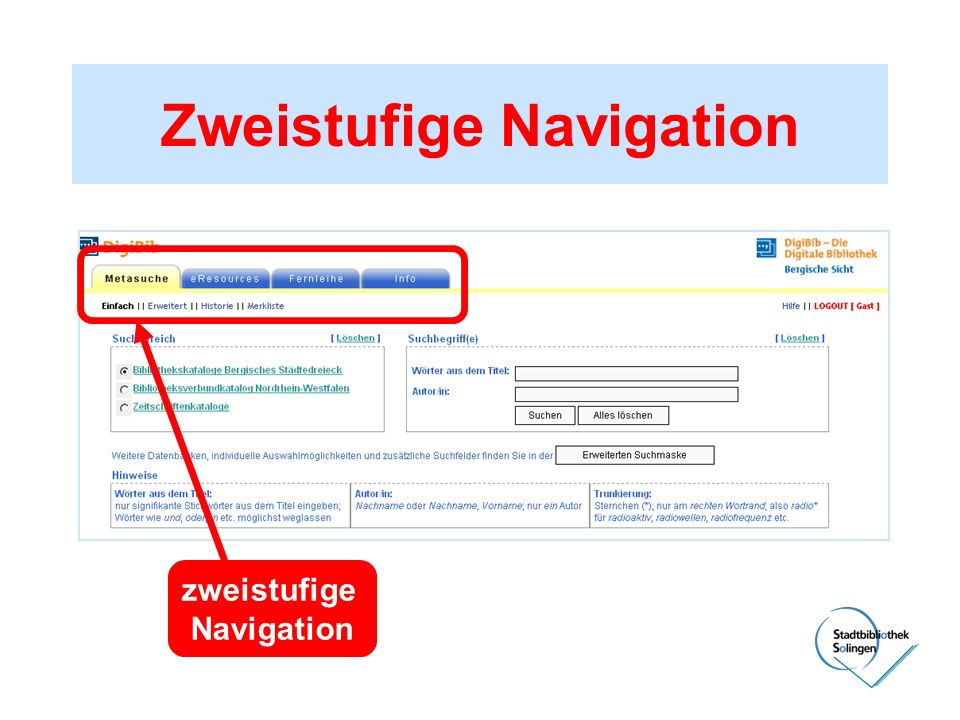Zweistufige Navigation