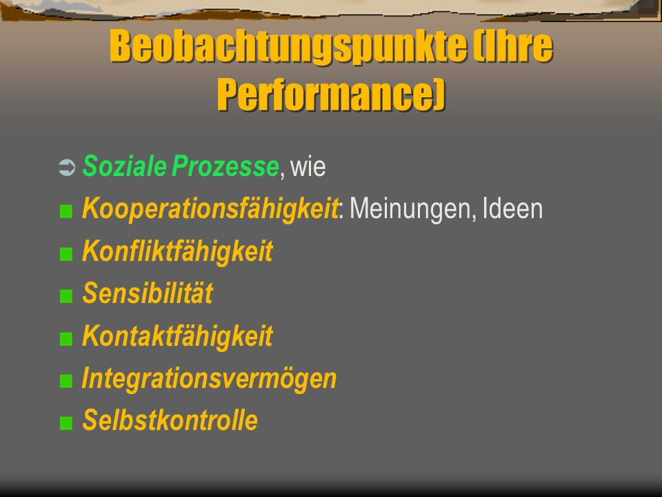 Beobachtungspunkte (Ihre Performance)