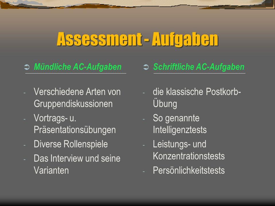 Assessment - Aufgaben Verschiedene Arten von Gruppendiskussionen
