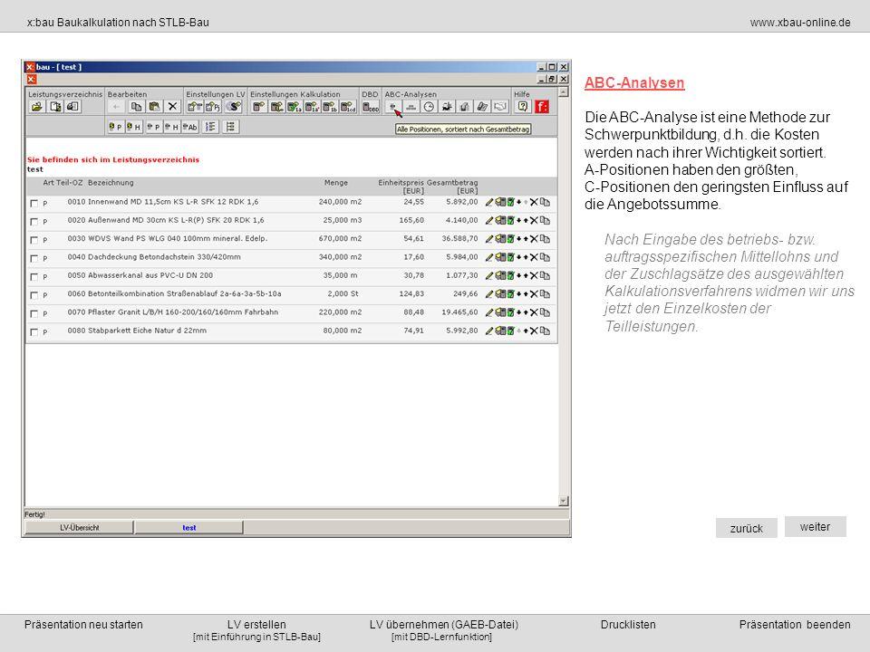 ABC-AnalysenDie ABC-Analyse ist eine Methode zur Schwerpunktbildung, d.h. die Kosten werden nach ihrer Wichtigkeit sortiert.