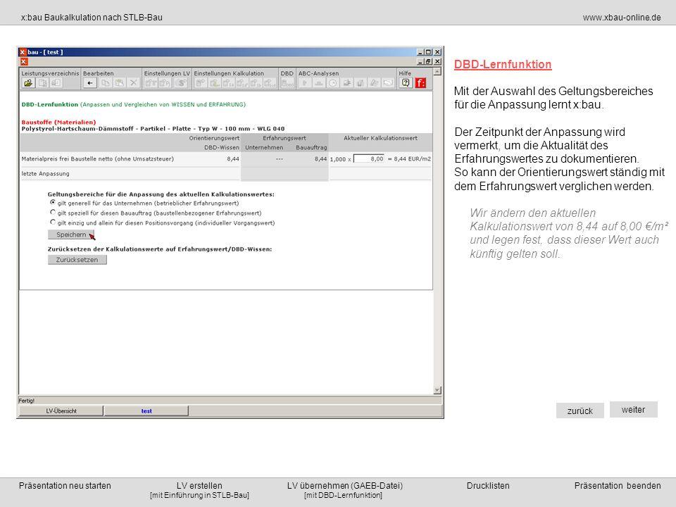 DBD-Lernfunktion Mit der Auswahl des Geltungsbereiches. für die Anpassung lernt x:bau.