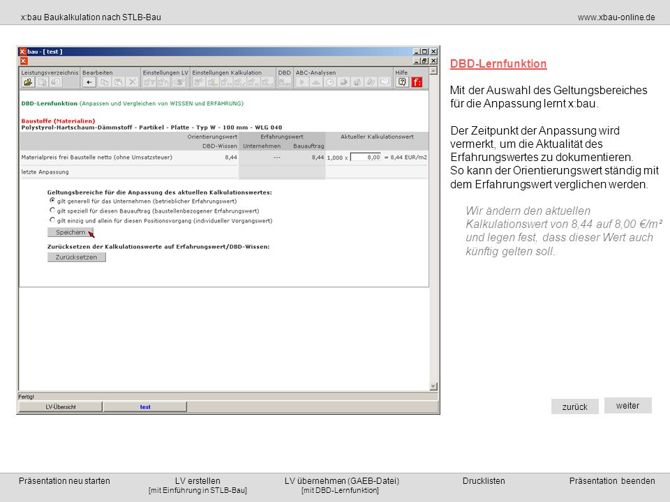 DBD-LernfunktionMit der Auswahl des Geltungsbereiches. für die Anpassung lernt x:bau.