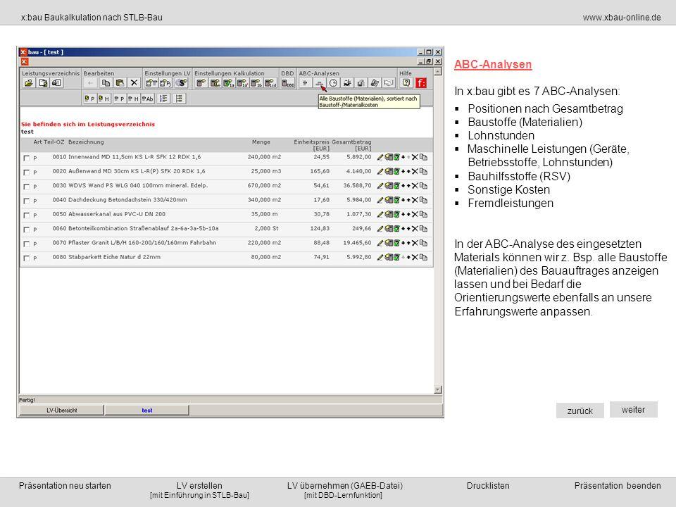 ABC-Analysen In x:bau gibt es 7 ABC-Analysen: Positionen nach Gesamtbetrag. Baustoffe (Materialien)