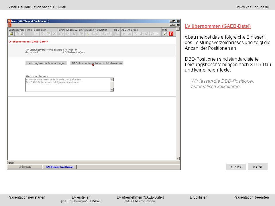 LV übernommen (GAEB-Datei)