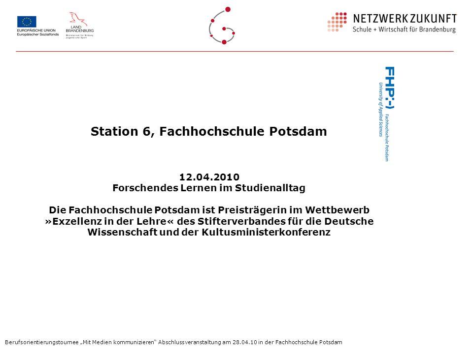Station 6, Fachhochschule Potsdam Forschendes Lernen im Studienalltag