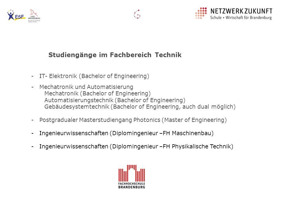 Studiengänge im Fachbereich Technik