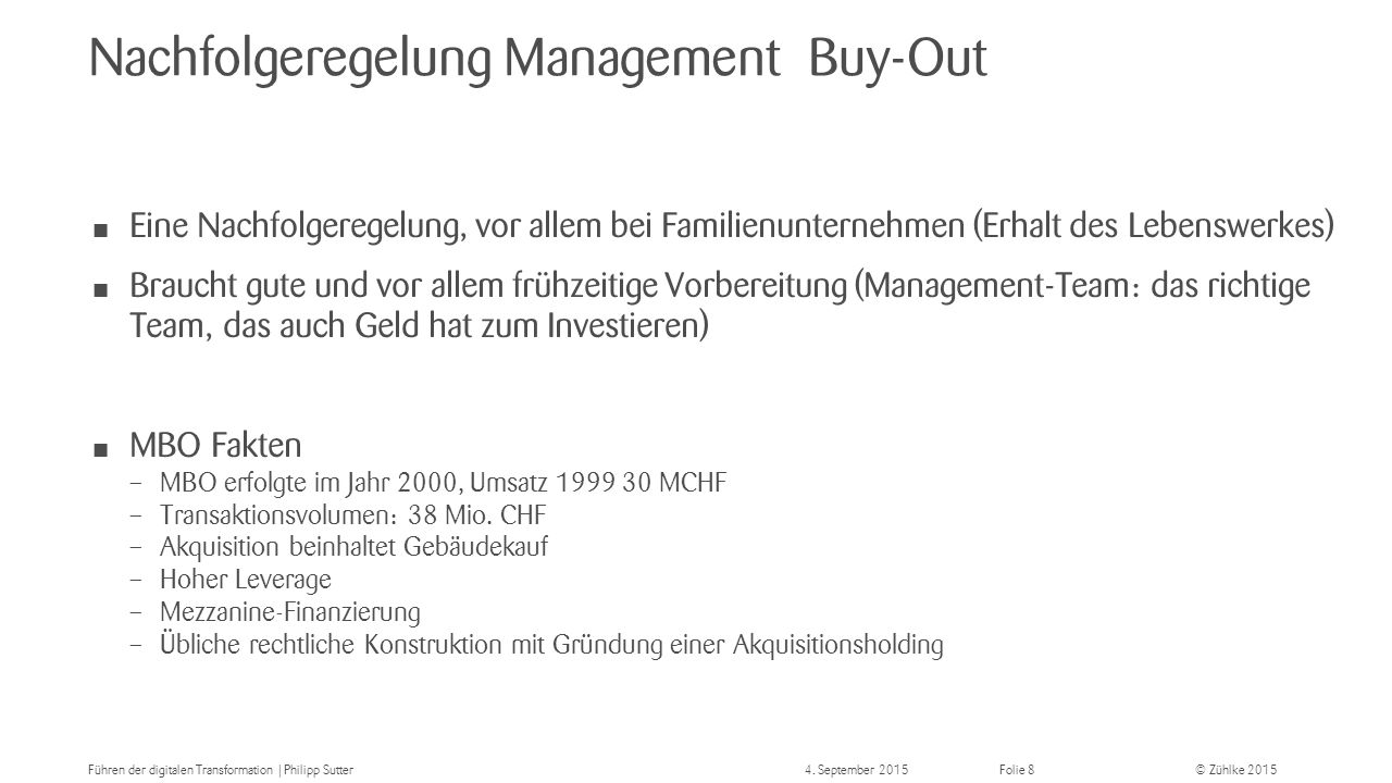 Nachfolgeregelung Management Buy-Out