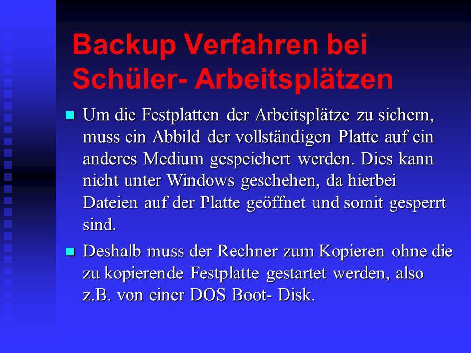 Backup Verfahren bei Schüler- Arbeitsplätzen