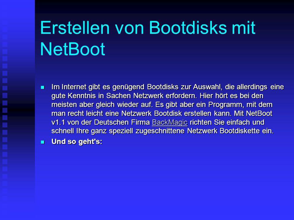 Erstellen von Bootdisks mit NetBoot