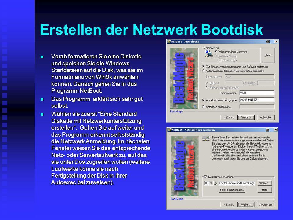 Erstellen der Netzwerk Bootdisk