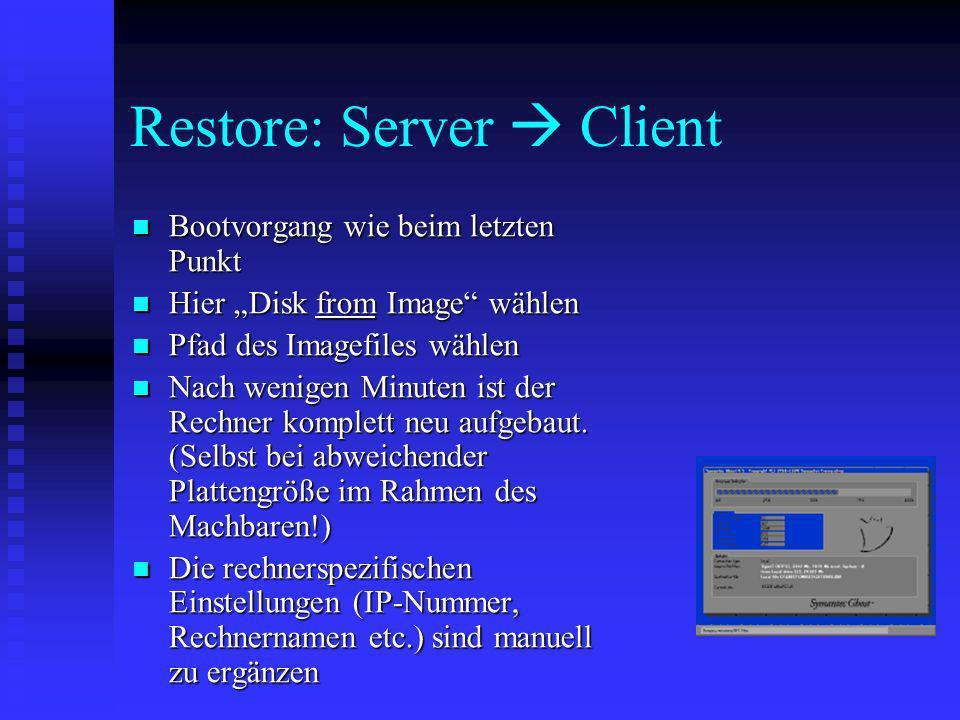 Restore: Server  Client