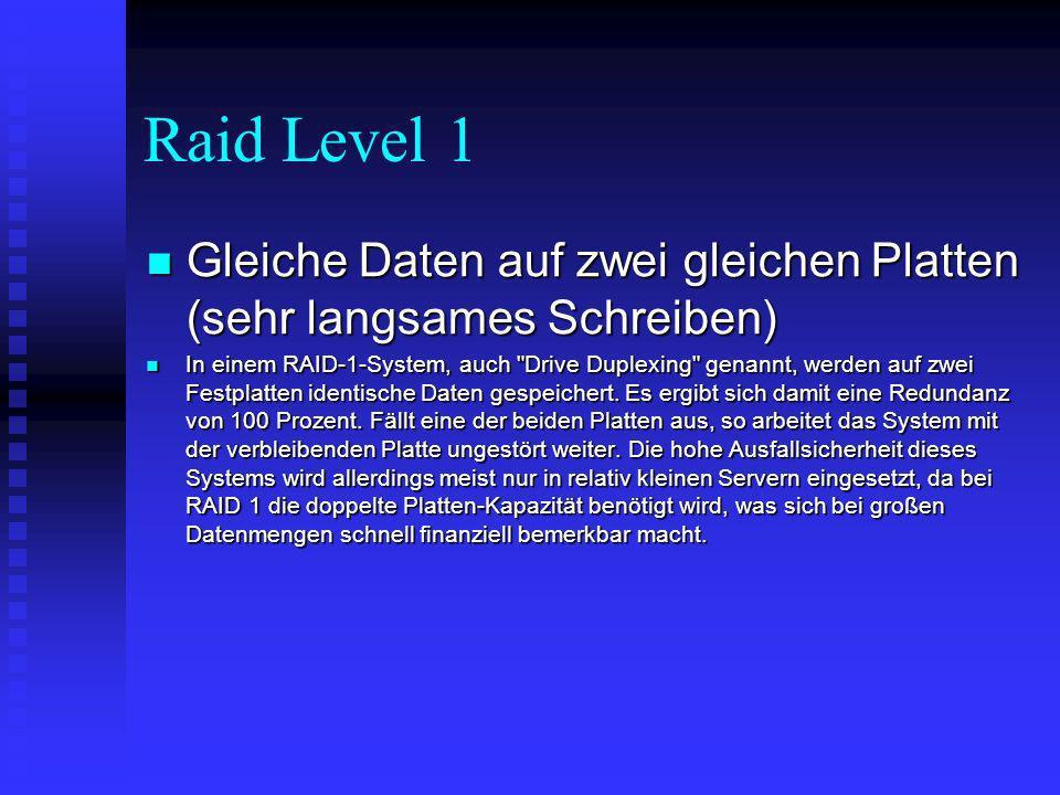 Raid Level 1 Gleiche Daten auf zwei gleichen Platten (sehr langsames Schreiben)