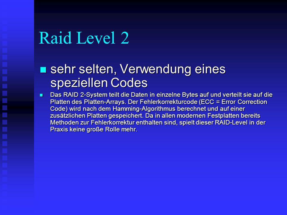 Raid Level 2 sehr selten, Verwendung eines speziellen Codes