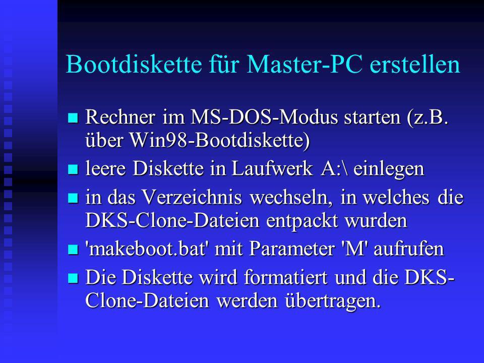 Bootdiskette für Master-PC erstellen
