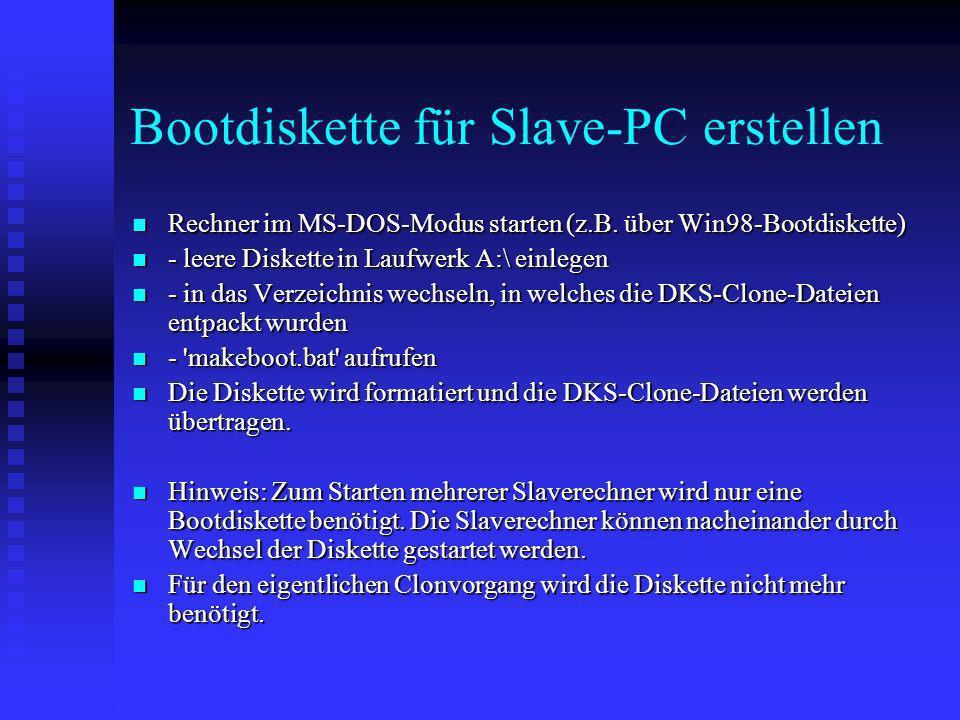 Bootdiskette für Slave-PC erstellen