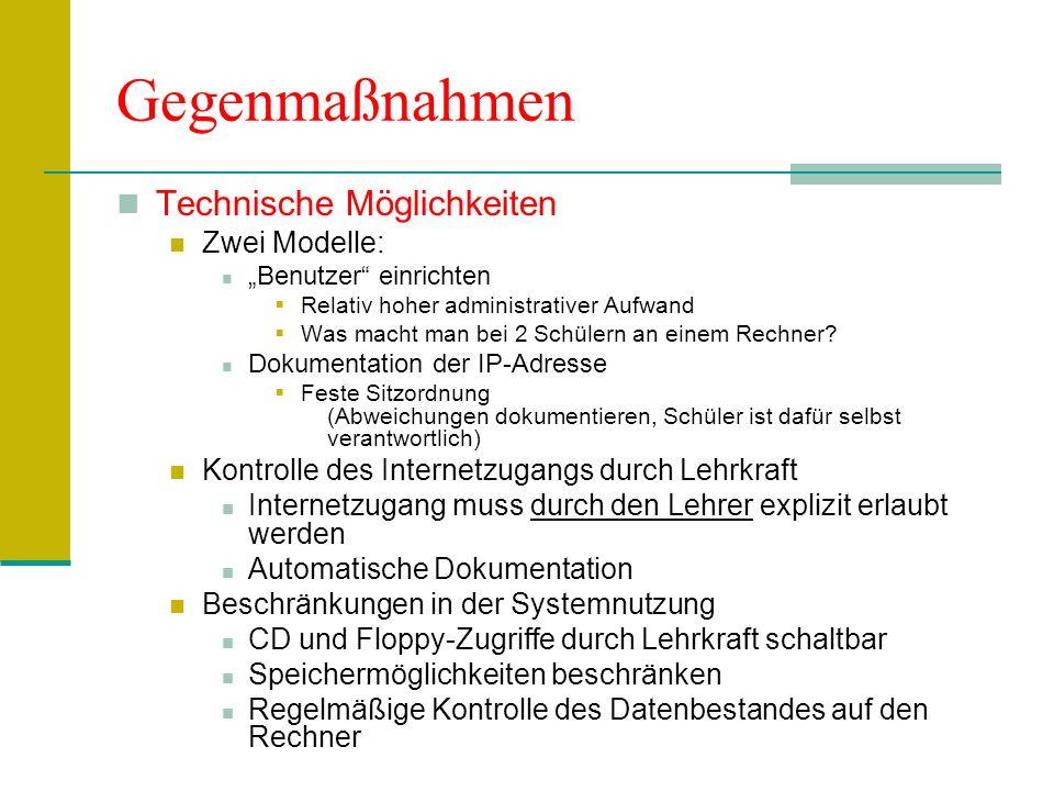 Gegenmaßnahmen Technische Möglichkeiten Zwei Modelle: