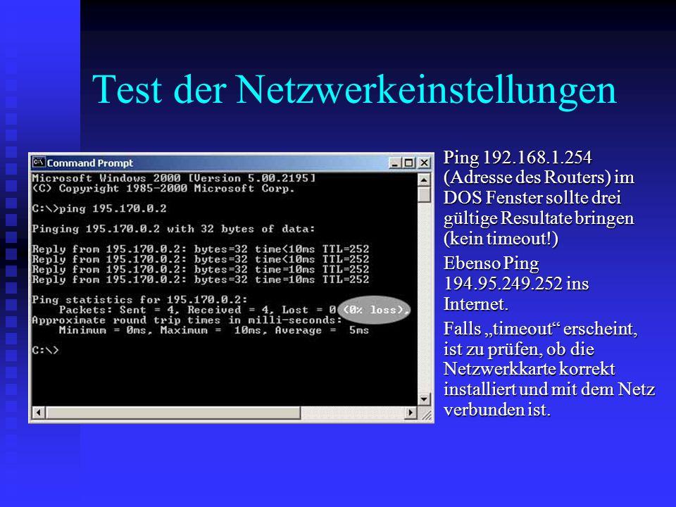 Test der Netzwerkeinstellungen