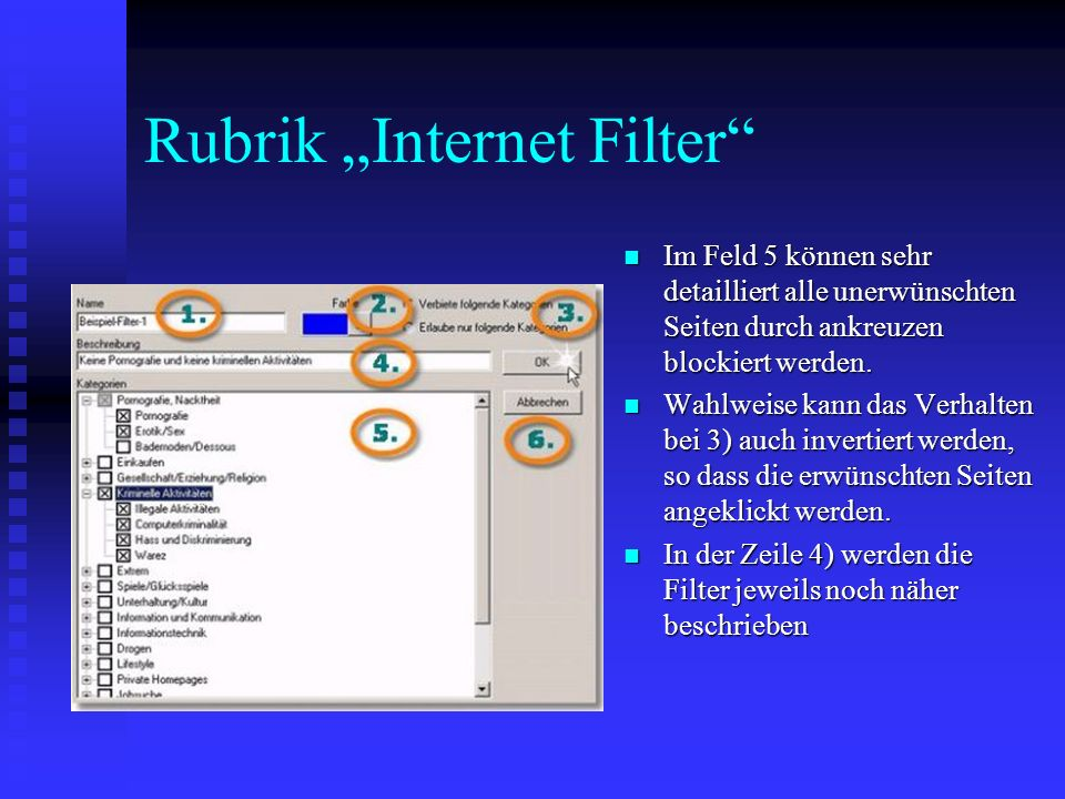 "Rubrik ""Internet Filter"