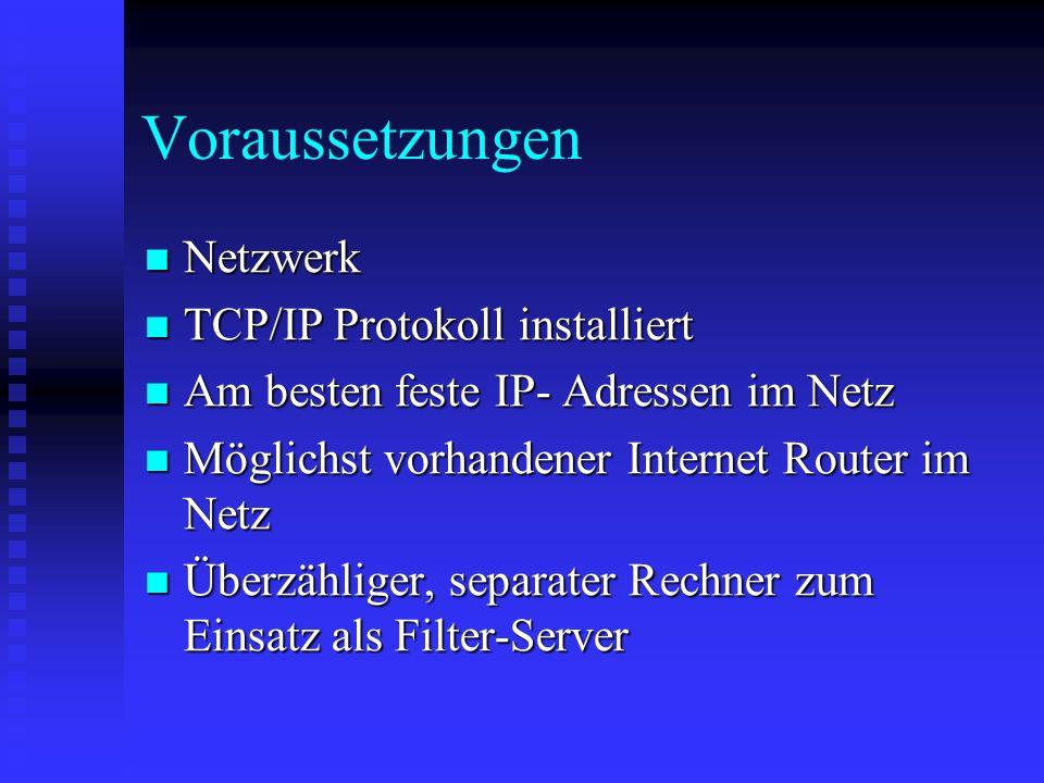 Voraussetzungen Netzwerk TCP/IP Protokoll installiert