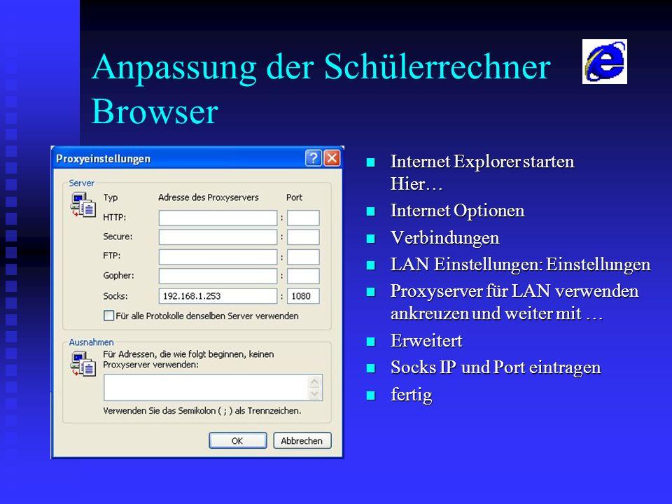 Anpassung der Schülerrechner Browser