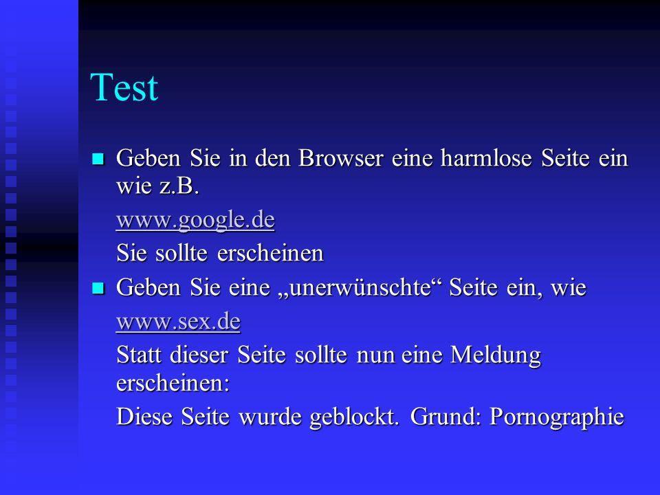 Test Geben Sie in den Browser eine harmlose Seite ein wie z.B.