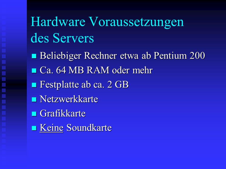 Hardware Voraussetzungen des Servers